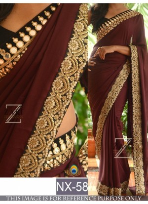 Buy Rozdeal Latest Maroon Color Desigener Georgette Saree Online