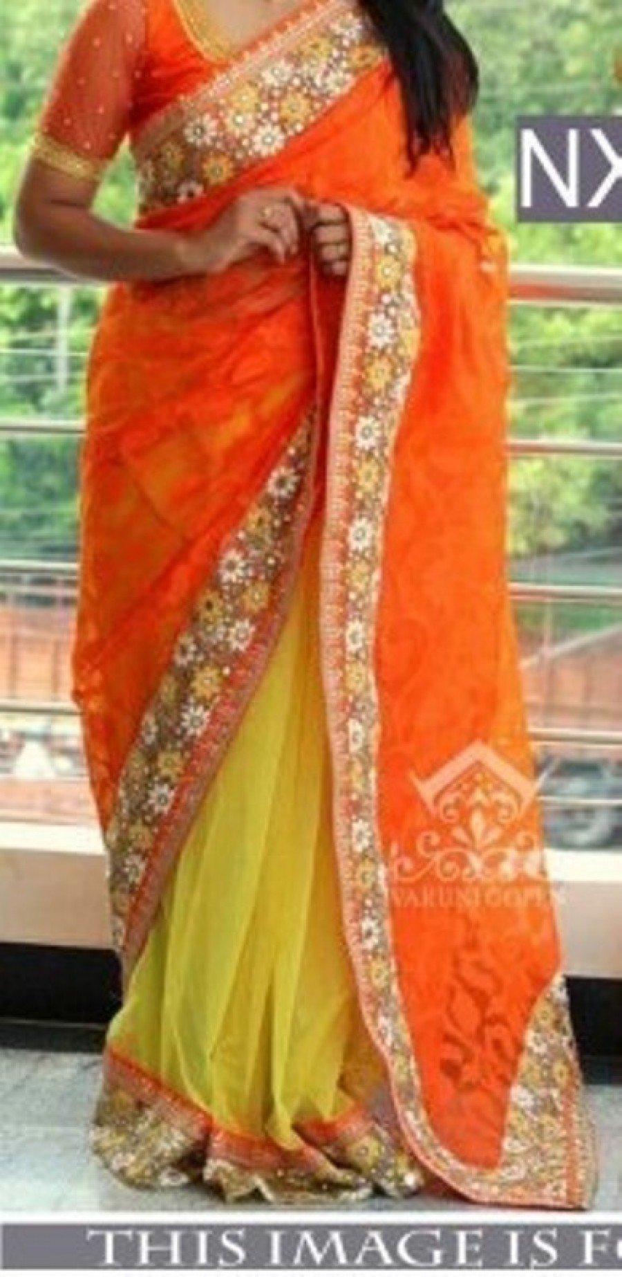 Buy Rozdeal New Orange and Yellow Barso Gerogette Designer Saree Online