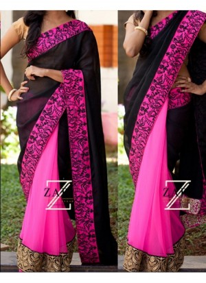 Buy Rozdeal new Pink and Black Color Georgette saree Online
