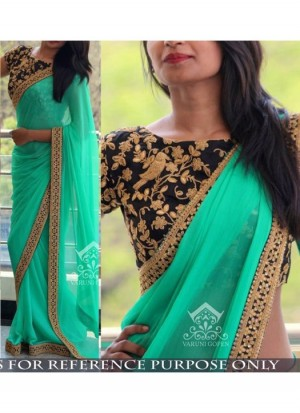 Buy Rozdeal Latest Firozi Color Georgette Saree Online