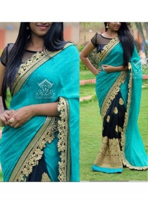 Buy Rozdeal New Black and Blue Georgette Saree Online