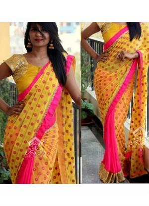 Buy Rozdeal New Yellow and Pink Georgette Saree Online