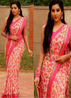 Buy Rozdeal New Pink Color Georgette Printed Saree Online