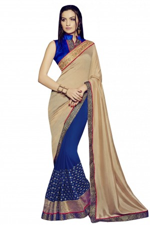 Buy Bahubali Bemberg Jacquard and Georgette Party Wear Designer Saree in Beige Colour  Online