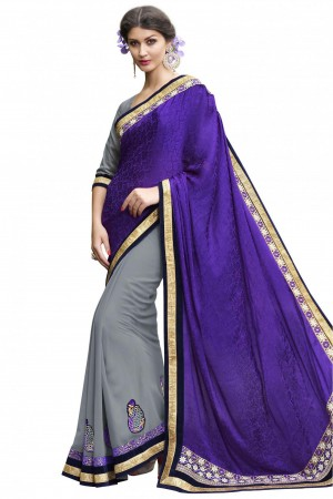 Buy Crepe Jacquard and Georgette Party Wear Half N Half Saree In Violet and Grey Colour Online