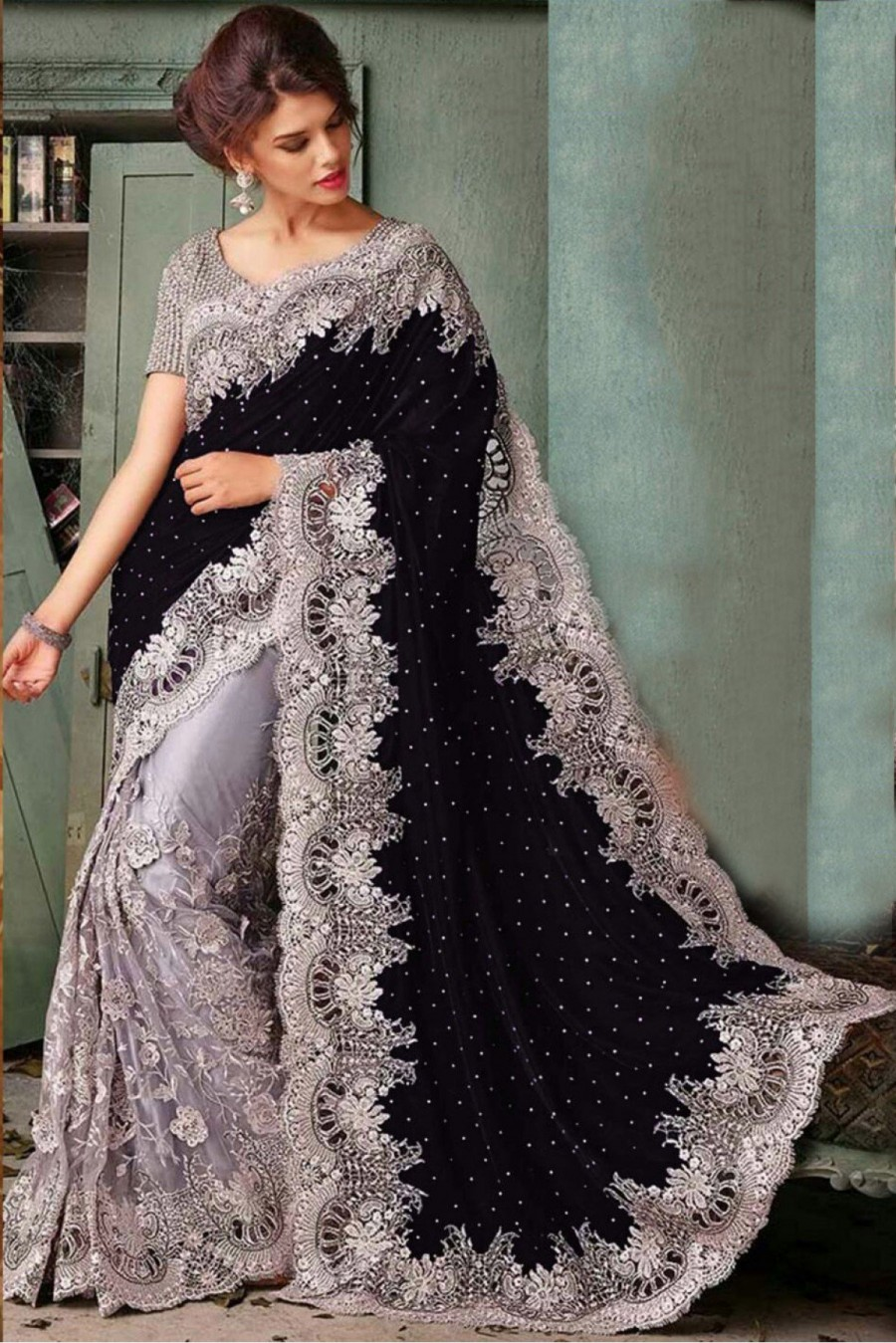 Buy Online Bollywood Style Model Velvet Party Wear Saree In Black And Silver Colour Nc2560at Best Price 545678