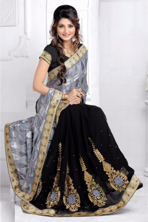 Buy Half N Half Brasso and Georgette Saree in Black and Grey Colour Online