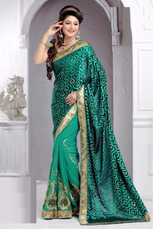 Buy Half N Half Brasso and Georgette Saree in Green Colour  Online