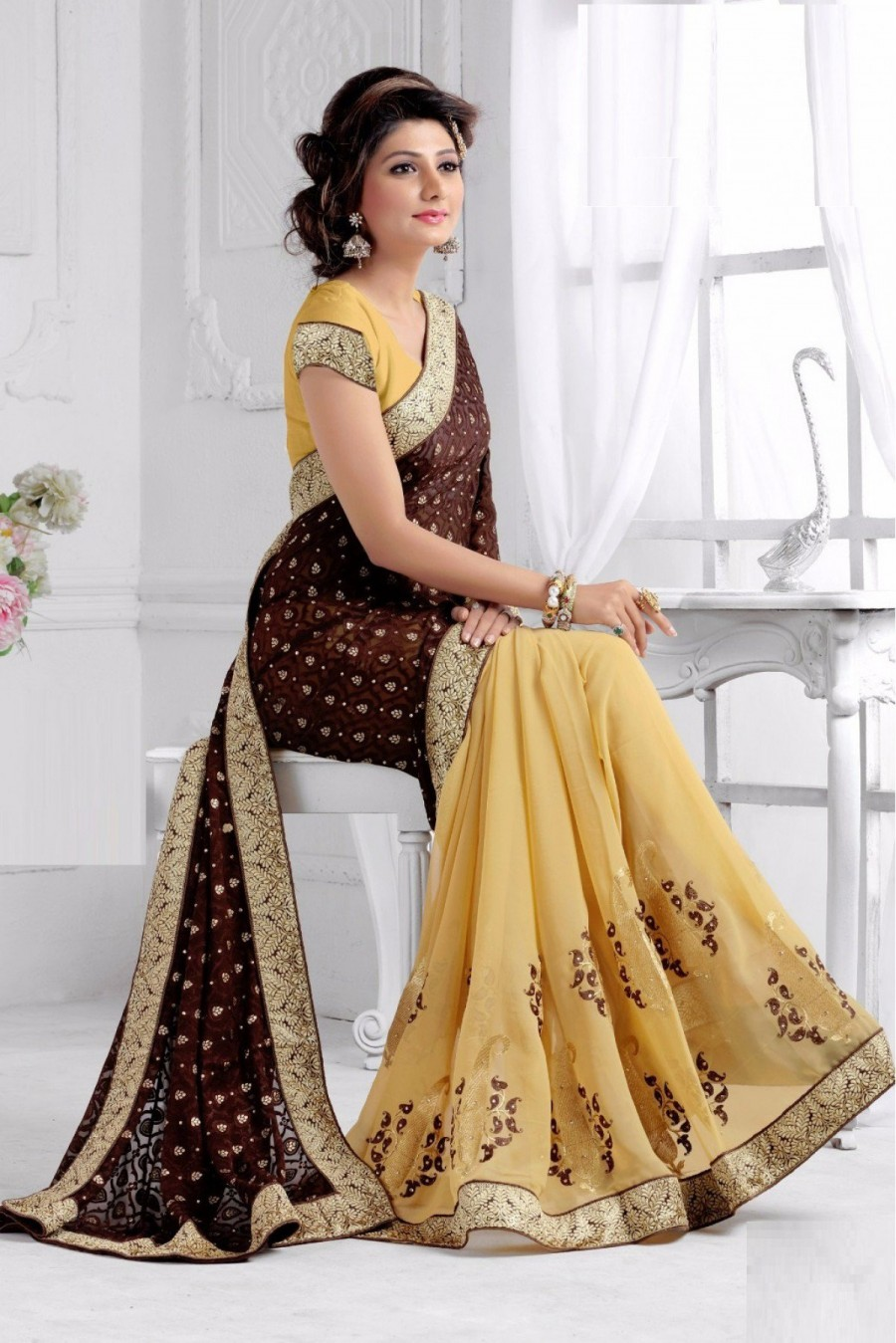 Buy Half N Half Brasso and Georgette Saree in Brown and Cream Colour Online