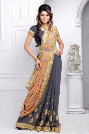Buy Half N Half Brasso and Georgette Saree in Grey and Orange Colour  Online