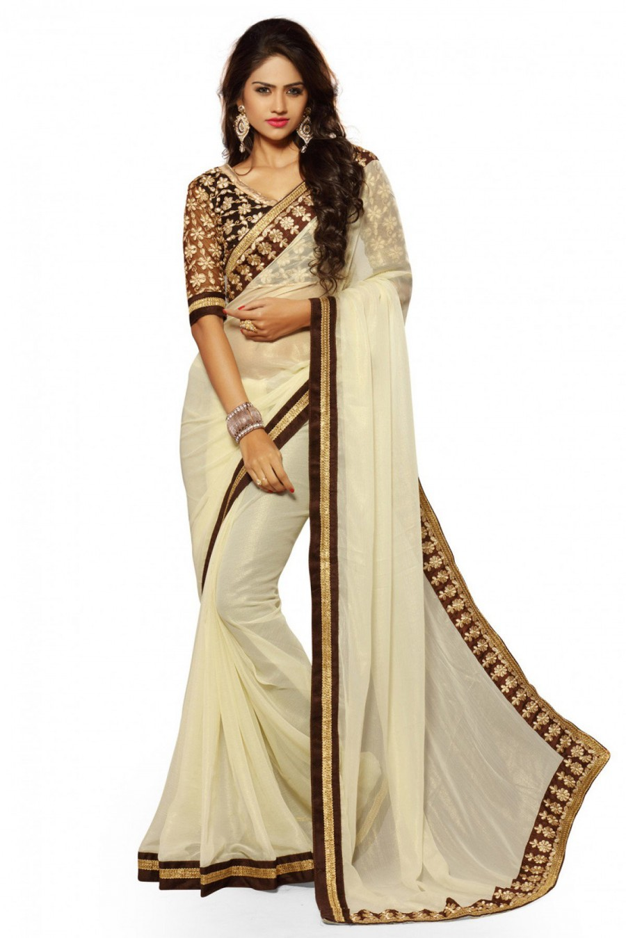 a3a61d2029 Exclusive Chiffon Party Wear Designer Saree In Cream Colour | 545824