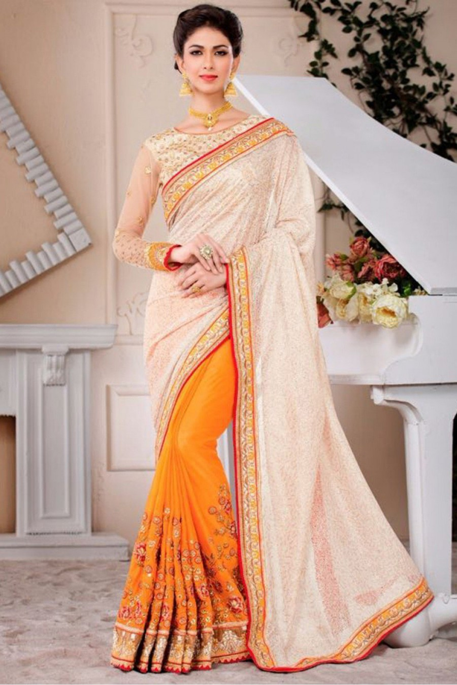 f98942a7c0 Buy Pure Chiffon Party Wear Designer Saree In Cream and Yellow Colour Online