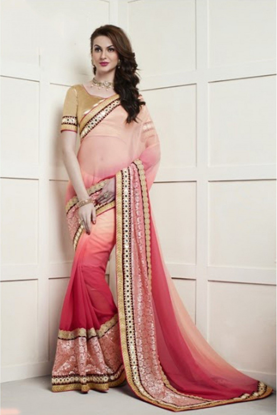 Buy Online | Viscose Party Wear Designer Saree in Peach and Pink ...