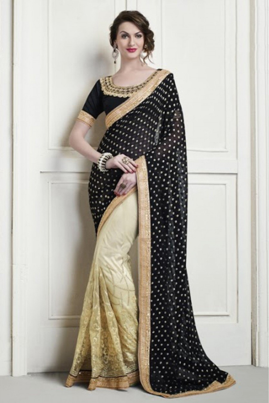 ef5a4bb9b8 Buy Net and Viscose Party Wear Designer Saree in Black and Cream Colour  Online