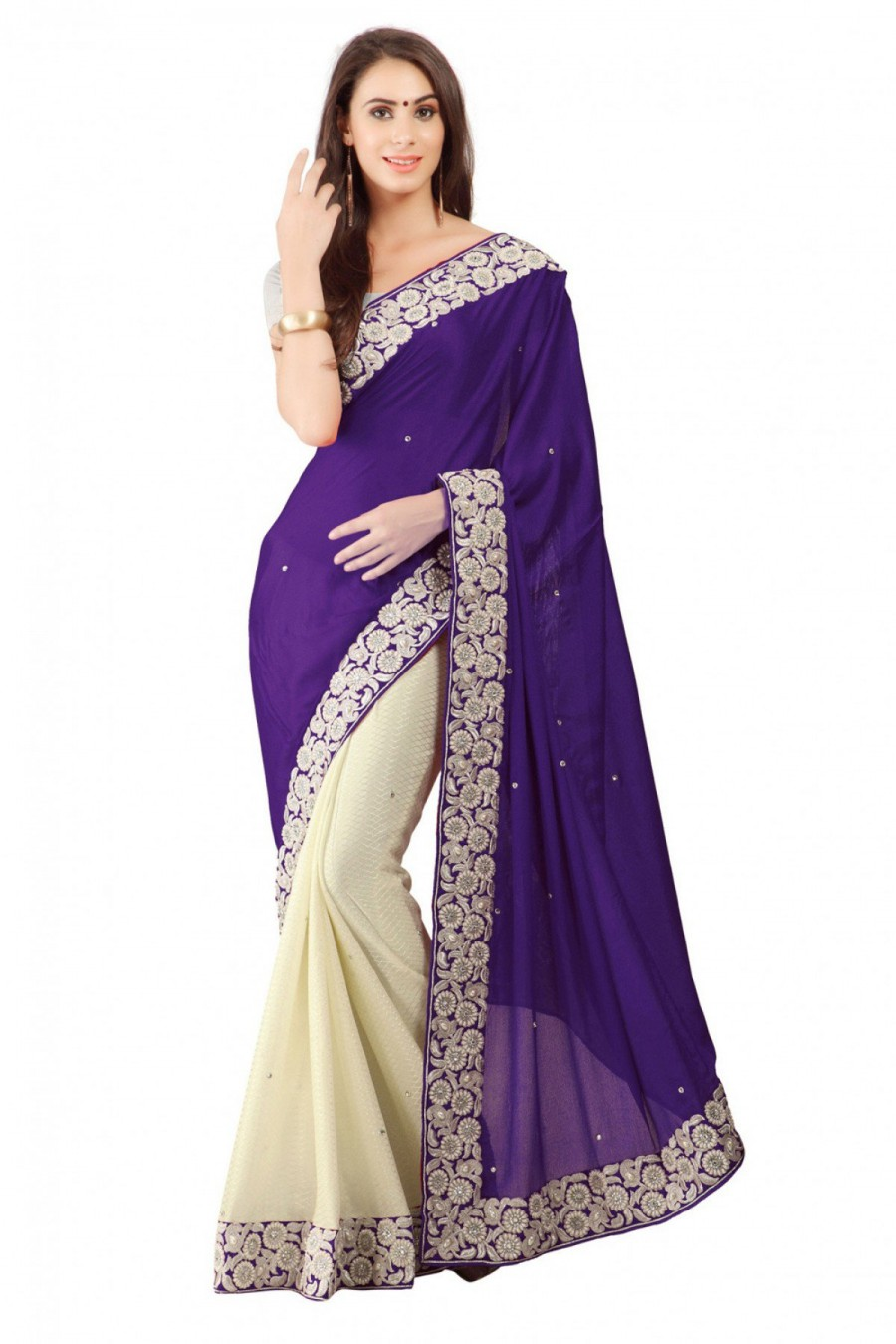 Online Shopping Lycra Party Wear Saree in Purple and Off White ...