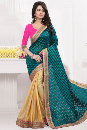 Buy Jacquard Party Wear Half N Half Saree In Teal And Gold Colour  Online