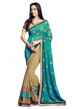 Buy Bahubali Bemberg Jacquard and Georgette Party Wear Designer Saree in Blue Colour Online