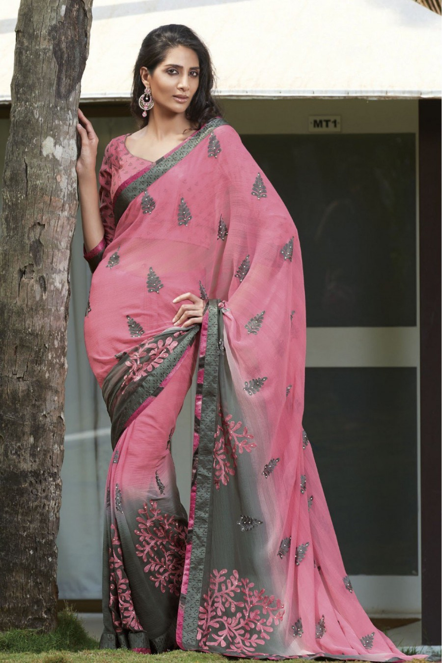 5c4e8cd5dab58 Buy Laxmipati Chiffon Party Wear Saree in Pink and Grey Colour Online