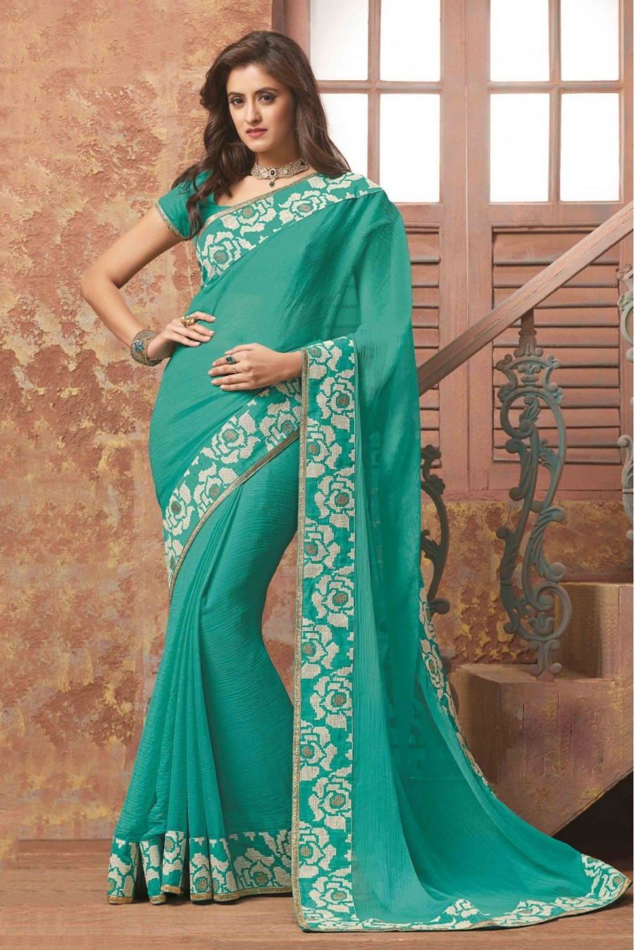 47785a10e0 Buy Laxmipati Wrinkle Chiffon Party Wear Designer Saree In Sea Green Colour  Online