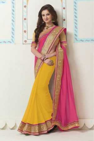 Buy Georgette Party Wear Saree In Yellow and Pink Colour Online
