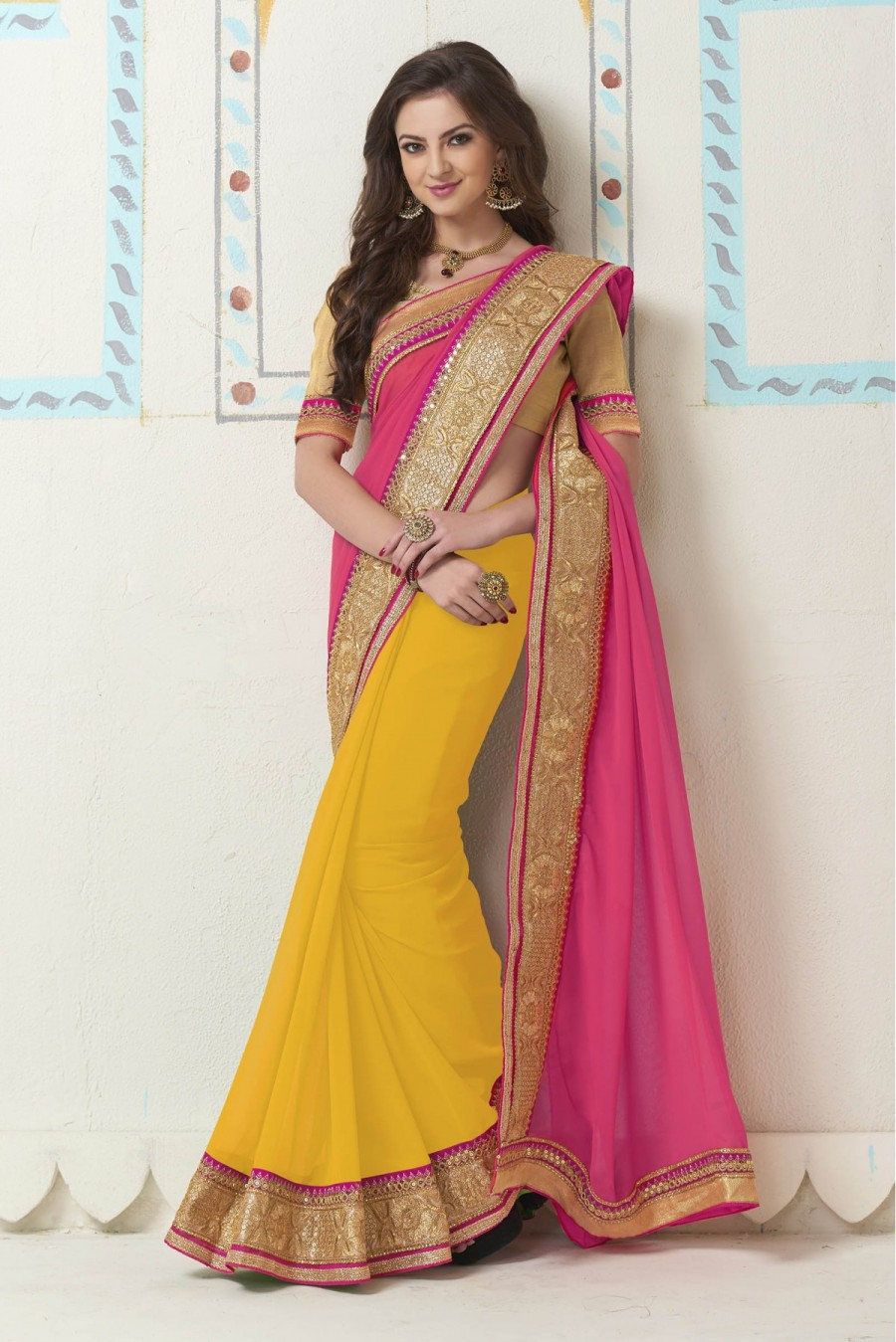 f5d3cbd5f1272f Buy Georgette Party Wear Saree In Yellow and Pink Colour Online