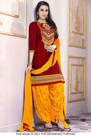 Buy Bollywood style Karishma Kapoor Cotton Party Wear Patiala Suit in Maroon And Yellow Colour Online