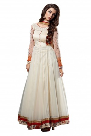 Buy Georgette Party Wear Anarkali Suit in White Colour Online