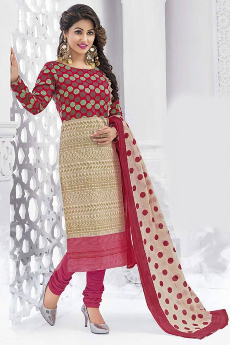 e30b9cd420 Buy Bollywood Hina Khan Pure Cotton Printed Churidar Salwar Kameez in Cream  and Pink Colour Online. View full size
