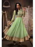 Georgette And Net Party Wear Anarkali Suit in Green Colour