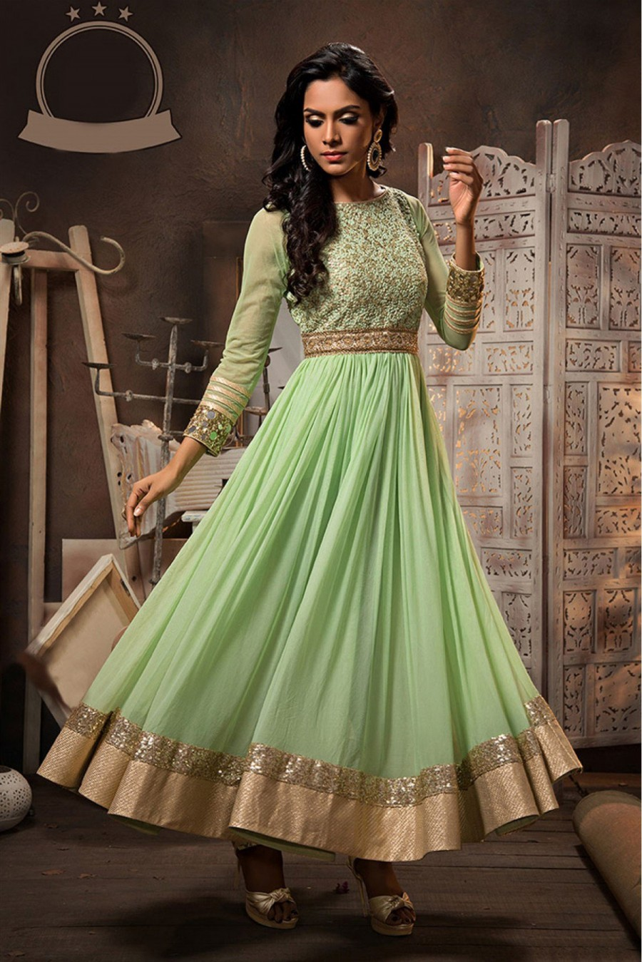 Buy Georgette And Net Party Wear Anarkali Suit in Green Colour Online