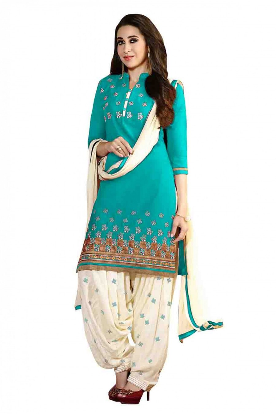 158a7ee67f Buy Bollywood Krishma Kapoor Cotton Party Wear Embriodery Patiala Suit in  Blue Colour Online