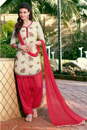 Buy Cotton Party Wear Patiala Suit in Off White Colour Online