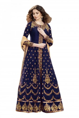 Buy Banglori Silk Party Wear Anarkali Suit in Blue Colour  Online
