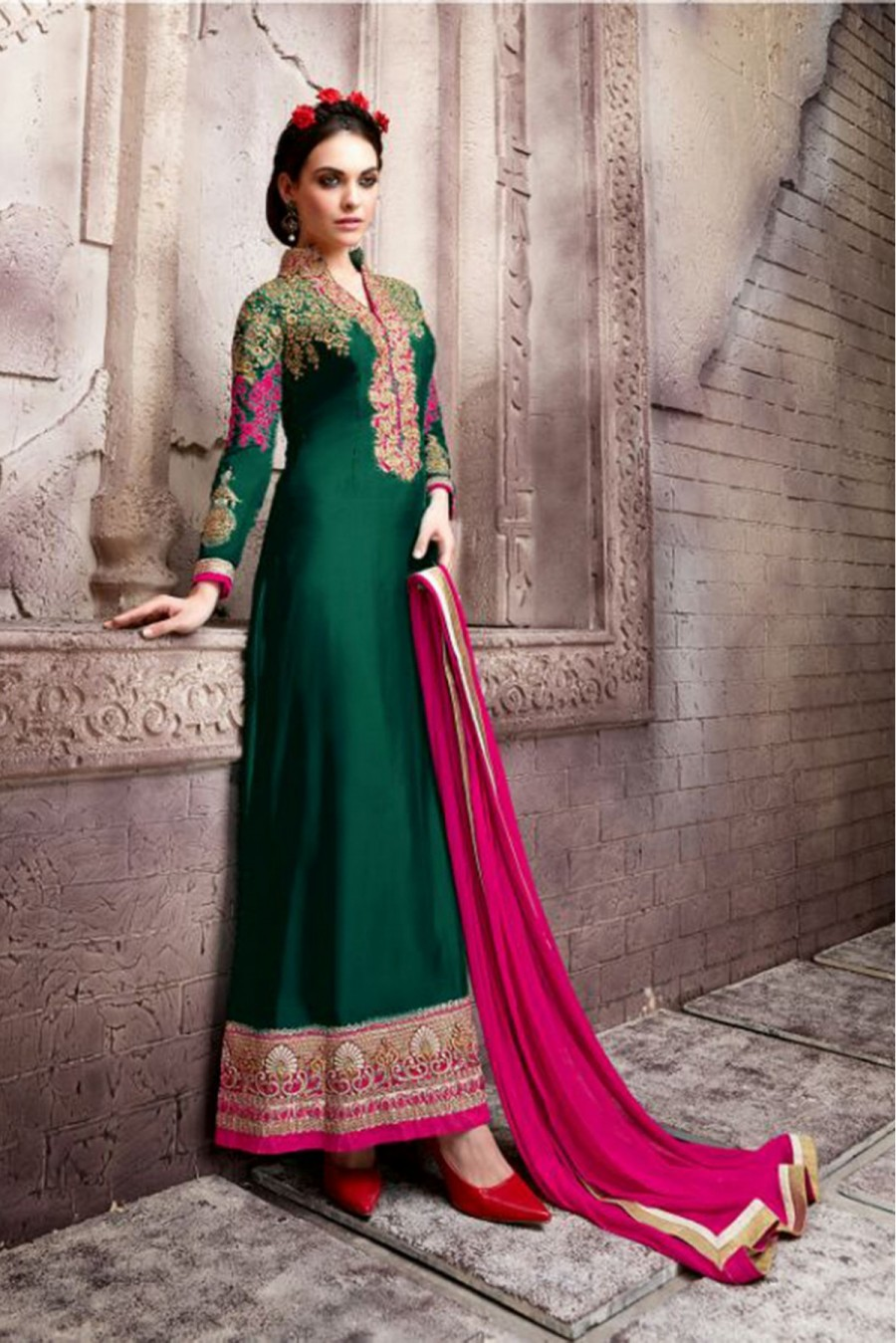 Buy Georgette Party Wear Anarkali Suit in Green And Pink Colour Online