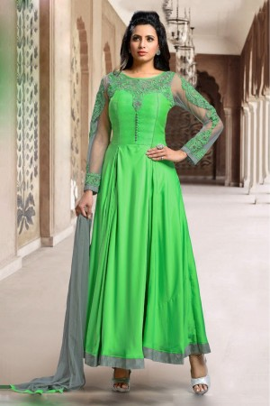 Buy Satin Party Wear Anarkali Suit in Green Colour Online