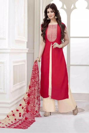 ea77e67bcd Buy Bollywood Ayesha Takia Georgette Casual Wear Palazzo Pant Suit in  Maroon Colour Online