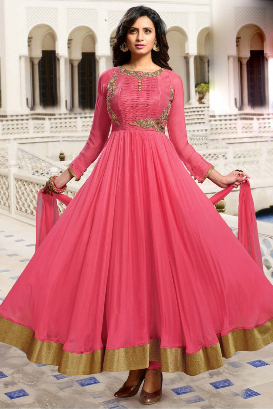 ede496bf8a Silk Party Wear Anarkali Suit in Pink Colour|Online Shopping | 546687