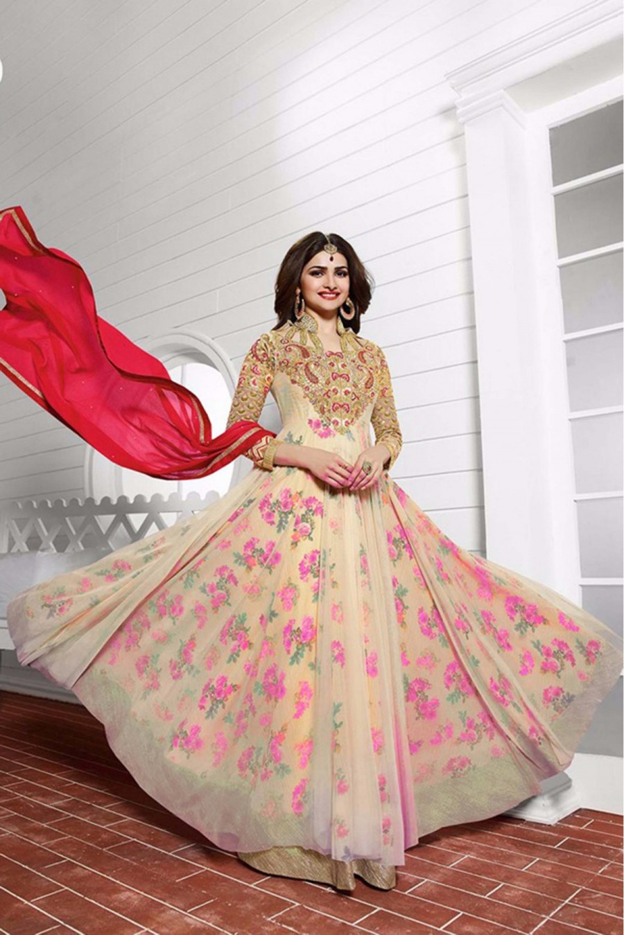 75a8c7ff21 Buy Bollywood style Prachi Desai Net Party Wear Anarkali Suit in Beige And  Pink Colour Online
