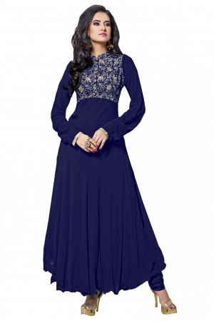 Buy Georgette Party Wear Anarkali Suit in Blue Colour Online
