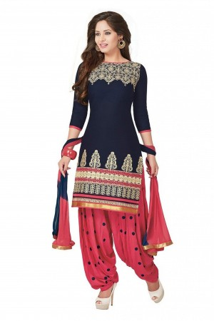 Buy Cotton Party Wear Patiala Suit in Blue Colour Online