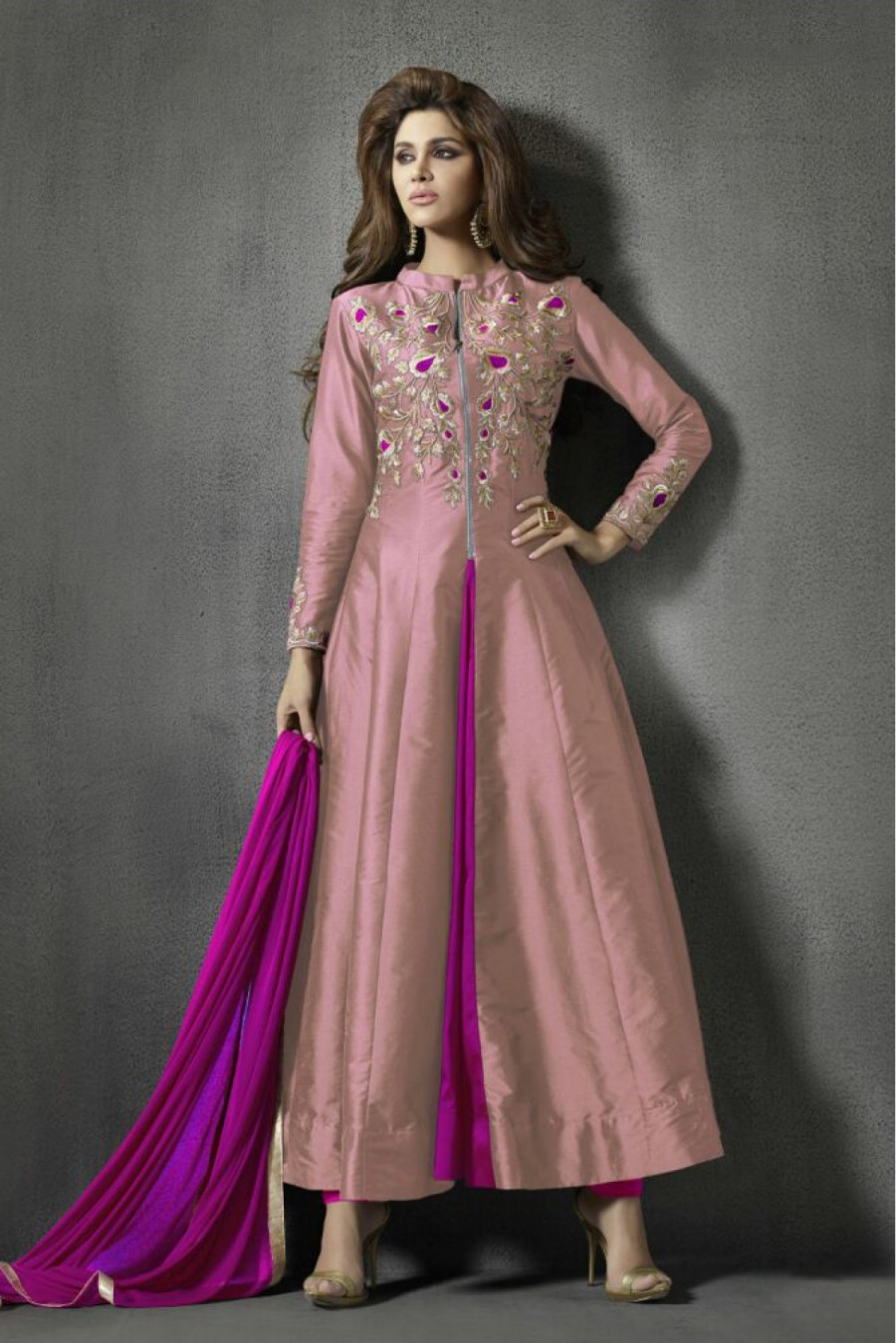 Buy Taffeta and Silk Party Wear Anarkali Suit in Peach Colour    Online