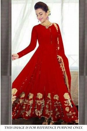 Buy Party Wear Georgette Anarkali Suit in Red Colour Online