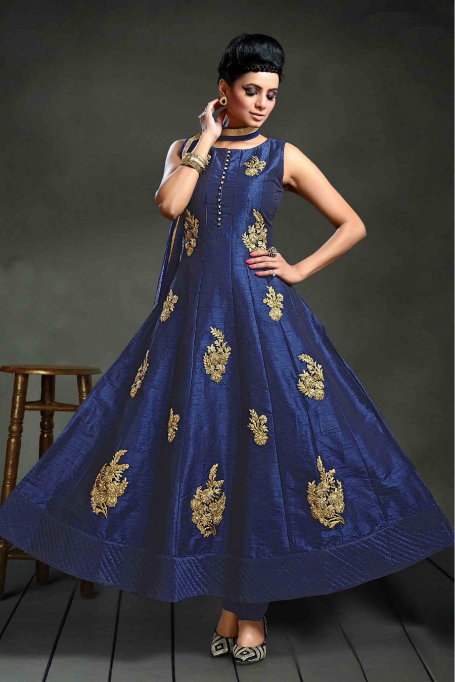 c4885b1ab2 Purchase | Silk Party Wear Anarkali Suit in Blue Colour | 546757