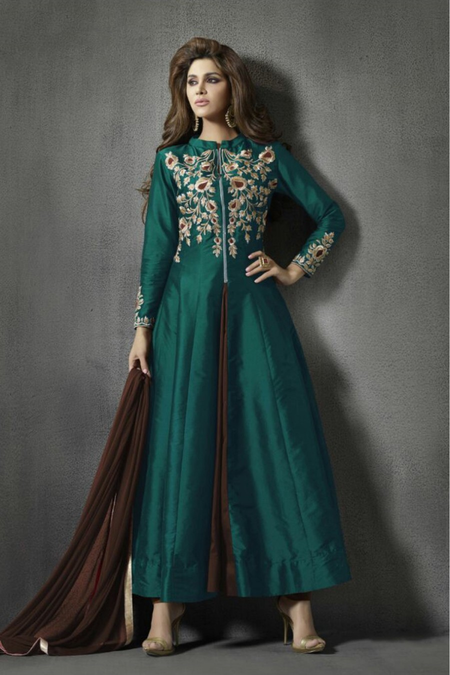 Buy Taffeta and Silk Party Wear Anarkali Suit in Green Colour  Online