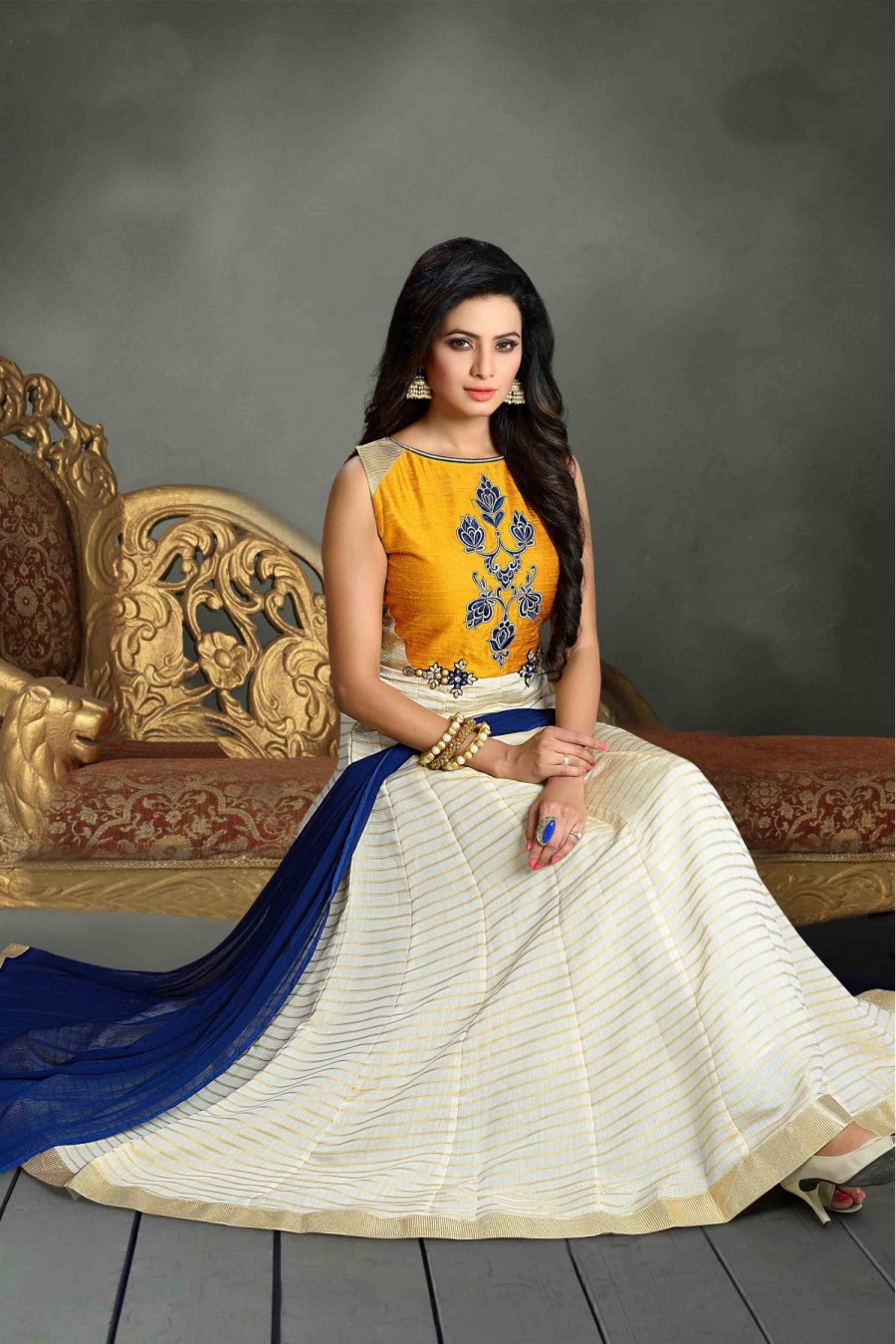 Buy Chanderi and Silk Party Wear Anarkali Suit in Yellow and Off White Colour  Online