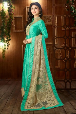 Buy Bollywood Mouni Roy Taffeta And Silk Party Wear Anarkali Suit In Teal Colour  Online