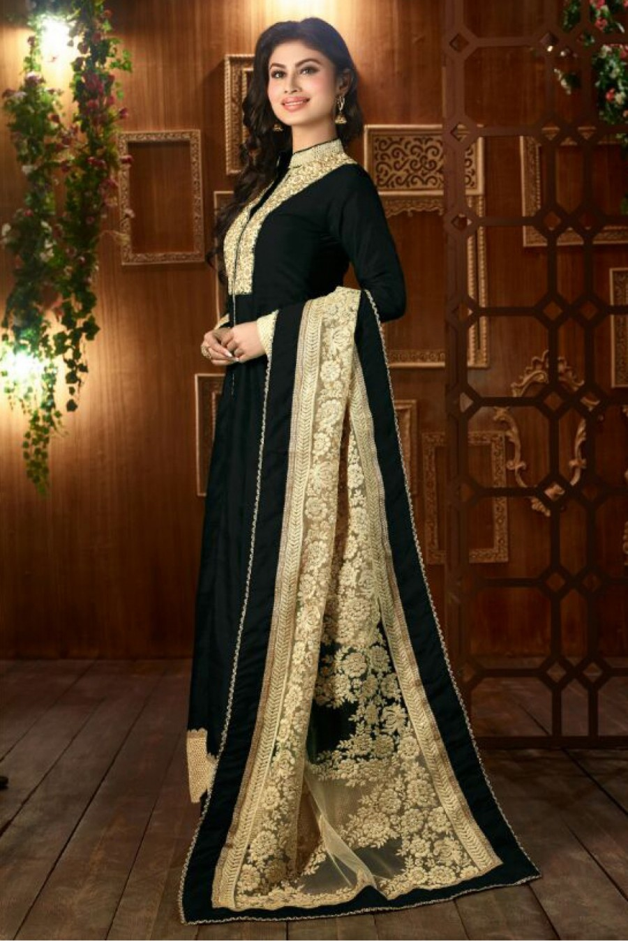Buy Bollywood Mouni Roy Taffeta And Silk Party Wear Anarkali Suit In Black Colour Online
