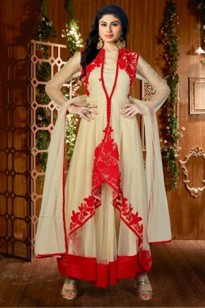 Buy Bollywood Mouni Roy Net Party Wear Anarkali Suit In Cream And Red Colour Online