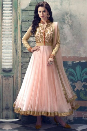 Buy Net Anarkali Party Wear Suit in Light Pink and Beige Colour Online