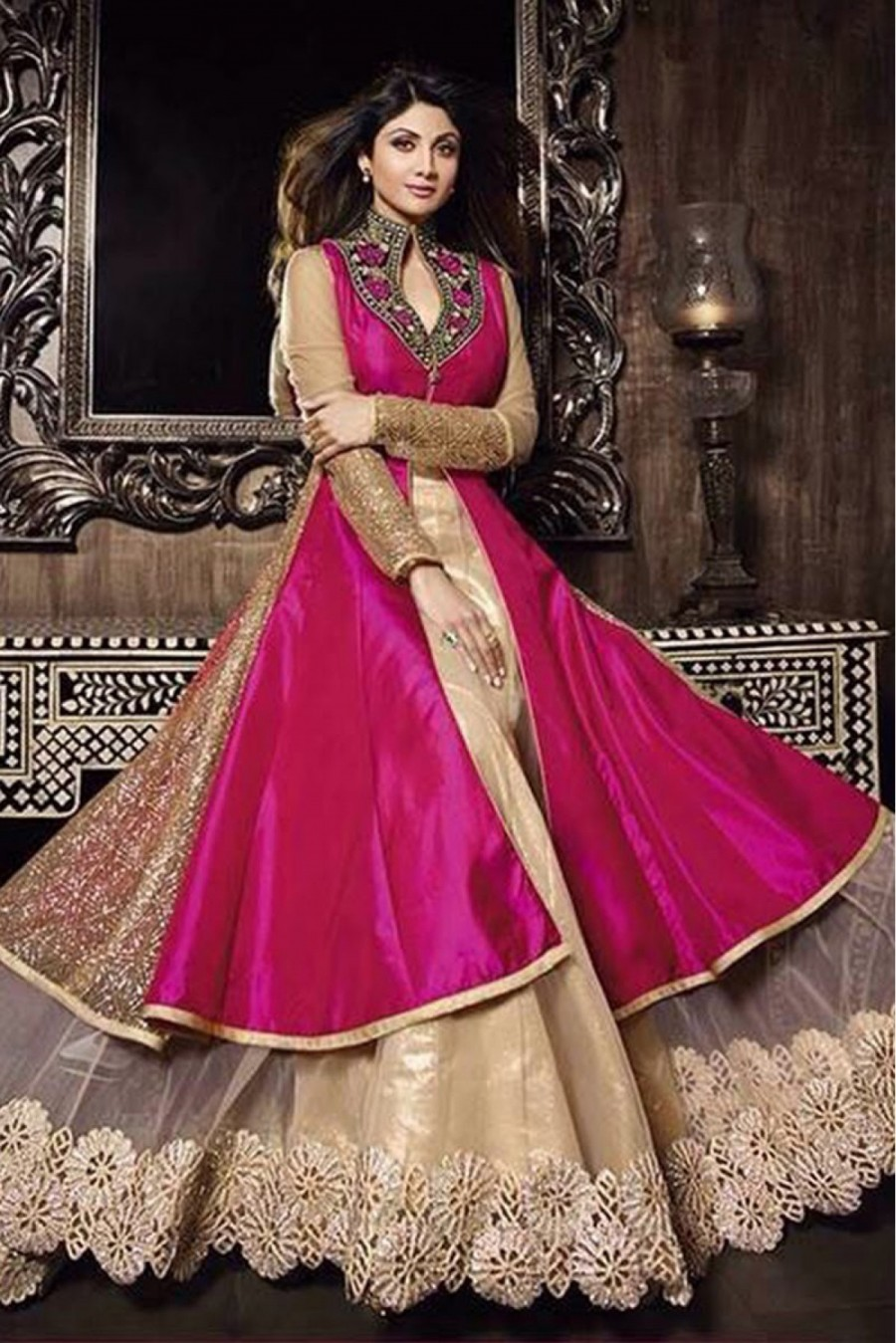 eeac252e66 Buy Bollywood Shilpa Shetty Silk Party Wear Lehenga Suit in Pink Colour  Online